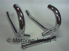 Stainless - exhaust pipes single cross over, 38 mm